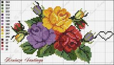 This Pin was discovered by Fot Cross Stitch Rose, Cross Stitch Flowers, Embroidery Patterns Free, Beading Patterns, Cross Stitching, Cross Stitch Embroidery, Rose Embroidery, Cross Stitch Designs, Cross Stitch Patterns