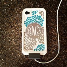 Mom loved her monogrammed Lifeproof case for iPhone 4S. This website lets you completely customize the background, colors, font, etc.! www.thepinkmonogram.com