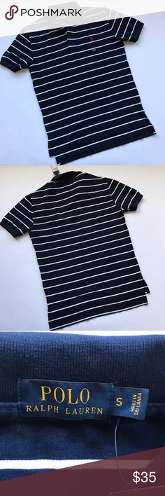 NWT Mens Polo Ralph Lauren Navy Stripe polo Small Brand new tags still attached. Men's classic style polo shirt. Navy with white stripes and red polo player. 21 inches from underarm to underarm laying flat. Originally $89.50  Comes from a smoke and pet free home 🏡.  You can bundle this with other items in my closet and only pay one shipping!!! Save$$$$ Polo by Ralph Lauren Shirts Polos