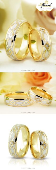 Handcrafted, yellow gold wedding rings decorated with white ceramic inlay, small diamonds and handmade engraving.