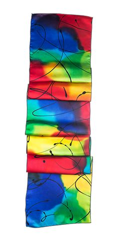 Hand-painted on 100% silk charmeuse, giving a luxuriously smooth, silky feel to this scarf. Approximate size: 62″ Long x 10″ Wide