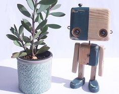 Recycled wooden robot - blue grey fine factory