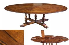 Extra Large Solid Walnut Expandable Round Dining Table With Self Storing Leaves