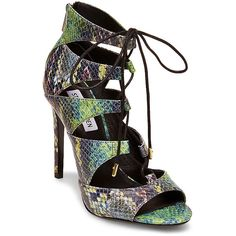 Steve Madden Women's Cathie Sandals Heels ($50) ❤ liked on Polyvore featuring shoes, sandals, rainbow mu, steve madden sandals, zipper sandals, rainbow sandals, lace up sandals and snakeskin shoes