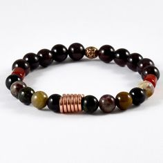 MENS TOURMALINE CARNELIAN GARNET CRYSTAL NATURAL GEMSTONE BEADED BRACELET COPPER #MBAHandmade #Beaded