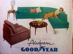 Vintage Mid-Century Modern 1958 Magazine Ad for Good Year Couch Cushioning, aqua-turquoise sectional sofa