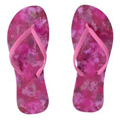 Pink cabbage rose triangles 5080 flip flops - rose style gifts diy customize special roses flowers