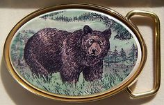 Belt Buckle Barlow Color Reproduction of Bear Traditional Brass 590618c
