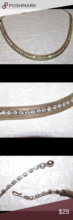 """Vintage 1950 mesh and rhinestone necklace Unsigned Weiss vintage 1960 This beautiful choker necklace features gold mesh with an open center of prong set sparkling rhinestones.  The rhinestones continue on the adjustable chain. It measures 16 5/8"""" from end to end and 1/2"""" wide Excellent vintage condition. High end vintage unsigned designer Weiss Jewelry Necklaces"""