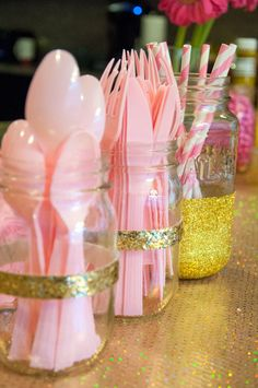 Gold dipped mason jars- perfect for birthday parties – Birthday Pink Gold Party, Pink And Gold Birthday Party, Gold First Birthday, 18th Birthday Party, Sweet 16 Birthday, 1st Birthday Girls, Unicorn Birthday Parties, Pink Graduation Party, Birthday Cupcakes