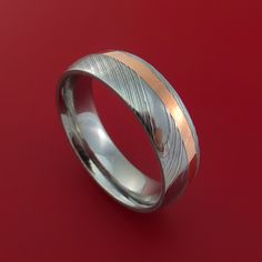 Damascus Steel and Copper Ring Wedding Band Custom Made - Stonebrook Jewelry  - 1