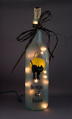 Lighted Halloween Wine Bottle Bottle of Boos Black Cat Frosted Glass Night Light Accent Lamp Recycled Lighting Fall Crafts, Holiday Crafts, Holiday Fun, Diy Crafts, Holiday Decor, Holidays Halloween, Halloween Crafts, Halloween Decorations, Halloween Camping