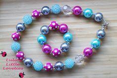 Valentines Chunky Necklace, Valentines Jewelry, Polkadot Necklace,  Necklace Bracelet Set, Bubblegum Bead Set, Childrens Costume Jewelry - pinned by pin4etsy.com