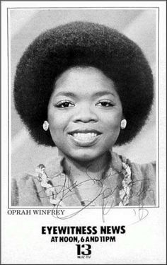Oprah Winfrey when she worked at WJZ Channel 13 Baltimore Maryland. Afro, Vintage Black Glamour, Vintage Glam, Black Celebrities, Celebs, My Black Is Beautiful, Beautiful Lips, Black History Facts, We Are The World