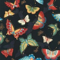 Robert Kaufman Imperial Collection 10 Mixed Butterflies on Black