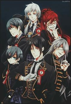 The Akuma 6, Sebastian Michaelis, Ciel Phantomhive, Undertaker, Grell Sutcliff, Vincent Phantomhive and Charles Grey. <3