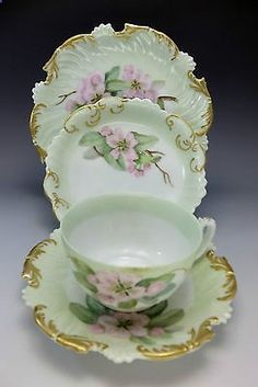1895-T-V-Limoges-4pc-Tea-Cup-Saucer-Set-Hand-Painted-Pink-Apple-Blossom-Plate