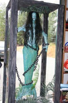 Halloween prop: captured mermaid (if I do a pirate theme someday) Pirate Halloween Party, Halloween Haunted Houses, Halloween 2020, Outdoor Halloween, Halloween Projects, Holidays Halloween, Scary Halloween, Halloween Themes, Pirate Halloween Decorations