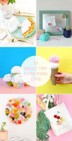 DIY INSPIRATION: POM POM PROJECTS Pom Pom Trim, Pom Poms, Pom Pom Cupcakes, Easy Crafts, Diy And Crafts, Turtle Crafts, Diy Magnets, Summer Diy, Diys