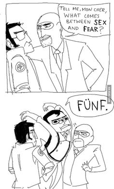 Bahahaha I laughed way too hard at this (I can't decide what's more amusing medic's interjected FUNF or how completely over it Sniper is of Spy's crap loool)
