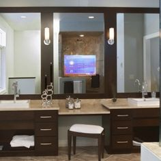 Double Vanity with Makeup Table | BM14. Double Sink & Vanity Table with Granite Top