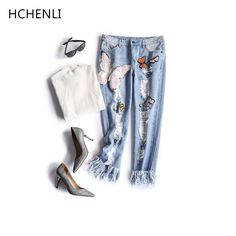 HCHENLI 2017 Summer Women Jeans Female Sequined Ripped Butterfly Blue Mid Waist Ankle-Length Jeans Ladies Legging Straight Pants -- AliExpress Affiliate's buyable pin. Click the image to visit www.aliexpress.com