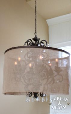 hula hoop and burlap to dress up an old chandelier what about an embroidery hoop around our chandelier with a fabric shade - paint the fixture of course Fabric Chandelier, Old Chandelier, Large Chandeliers, Chandelier Shades, Lamp Shades, Antler Light Fixtures, Antler Lights, Little Girl Rooms, Fabric Shades