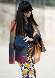 Susie Lau  Only Susie could think to mix a floral Proenza Schouler piece with a rainbow Marco de Vincenzo blazer and not look crazy.    Photo:  YoungJun Koo/I'M KOO