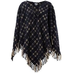 Jigsaw Blanket Check Poncho, Navy ($135) ❤ liked on Polyvore featuring outerwear, leather poncho, fringe poncho, wrap poncho and long sleeve poncho
