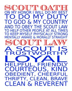 Boy Scout Oath and Law Subway Art Printable Freebie - by Amanda Pace at Bug-A-Bee Crafts Cub Scout Oath, Cub Scouts Bear, Wolf Scouts, Tiger Scouts, Scout Leader, Scout Mom, Girl Scouts, Boy Scout Law, Eagle Scout Gifts