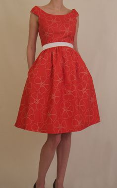 1950's Vintage style red floral dress  Party by happyyellowdress. , via Etsy.
