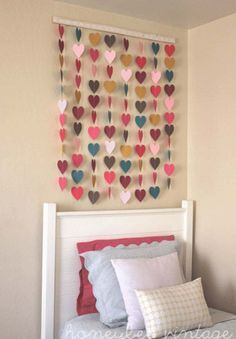 Paper Heart Wall Art - Top 28 Most Adorable DIY Wall Art Projects For Kids Room