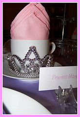 Princess place setting-dollar store tiaras. Use for Princess theme. Daughter of a King theme. Be Loyal to the Royal Within You theme.