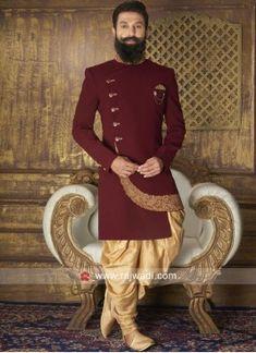 New Arrival Maroon Color Indo Western Sherwani For Men Wedding, Wedding Dresses Men Indian, Groom Wedding Dress, Nigerian Men Fashion, Indian Men Fashion, Mens Fashion Suits, Groom Fashion, Kurta Men, Mens Sherwani