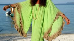 Enchanting Soft Rayon Handmade Maxi Dress Cover Up One Size Vestito Lungo Kimono Copricostume Mare Verde Chiaro Summer Bali Maxi Dress Boho di BeHappieWorld su Etsy
