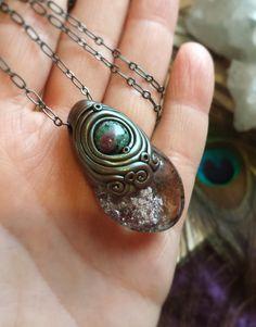 "The Dreaming Heart - Ruby Zoisite, Powerful ""Shamanic Dream Stone"" Lodolite Crystal Energy Pendant - Heart Chakra Centering, Deep Meditation"