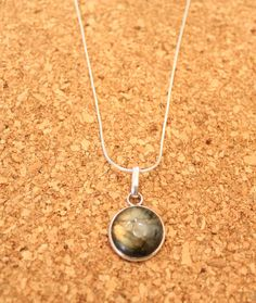 Stunning Round Labradorite Silver Pendant Necklace on Choice of Sterling Silver 925 Stamped Snake Chain or Waxed Leather Cord