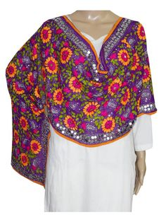 Super Georgette Stole Handembroidery SuperGeorgette Stole with Traditional Embroidery Work  Stole Length 2.25 Meter, Width 0.5 Meter  Wash Care Dry Clean Shop Now ; http://www.jankiphulkari.com/purple-super-georgette-stole-jsgs1044