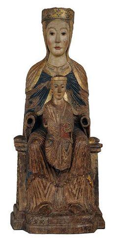 VIRGEN CON EL NIÑO DE PUENTEDURA S XII Madonna, Blessed Mother Mary, Medieval Art, Religious Art, Art Techniques, Virgo, Renaissance, Statue, Christianity