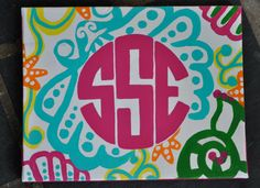 Lilly Inspired Monogram Canvases 8x10 by Creannative on Etsy, $18.00
