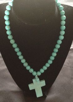 Genuine Turquoise Bead Cross Necklace by VintageVelvetBox on Etsy