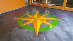 New Carlisle/ Ohio/ Logo/ Metallic/ Commercial Flooring/ Decorative Concrete/ Marble/ Stained Concrete/ Epoxy Water Based Concrete Stain, Stained Concrete, Concrete Staining, New Carlisle, Concrete Contractor, Compass Rose, Epoxy Floor, Commercial Flooring, Diy Garden Decor