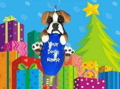 Flashy Fawn Boxer Natural Ears Christmas Light by sallysbitsofclay
