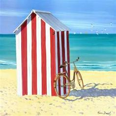 The most perfectly cute beach shack hut. Love the candy stripes against the blue ocean and yellow sand. Beach Please, Beach Shack, Beach Art, Red Beach, Ocean Beach, Beach Cottages, Beach Houses, Beautiful Beaches, Seaside