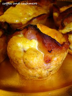 "I am going to call these ""Breakfast Pucks"" instead of Bacon cups, bacon, breakfast foods."