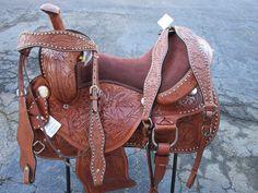"13/"" Purple Bling Medium Dark Oil Western Pony Trail Barrel Racer Saddle 4pc SET"