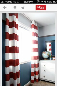 Are you looking for some cute striped curtains for your home but you don't want to fork out the extra dough to pay for them? Then look no further, these DIY Striped Curtains are the perfect solution! Bedroom Red, Trendy Bedroom, Bedroom Colors, Kids Bedroom, Bedroom Decor, Bedroom Ideas, Bedroom Curtains, Guy Bedroom, Boys Curtains