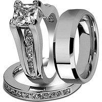 His and Hers Stainless Steel Princess Wedding Ring Set & Beveled Edge Wedding Band?