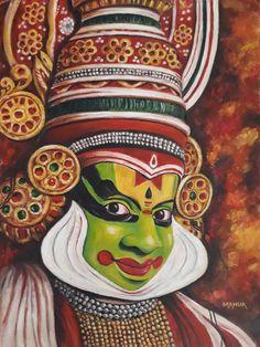 Original Performing Arts Painting by Mahua Pal Kerala Mural Painting, India Painting, Abstract Pencil Drawings, Art Drawings Sketches Simple, Dance Paintings, Indian Art Paintings, Modern Art Paintings, Acrylic Painting Canvas, Canvas Art