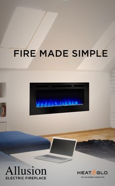 SimpliFire Allusion Electric Fireplaces are an innovative product from Heat & Glo. Fireplace Fronts, Fireplace Facing, Linear Fireplace, Fireplace Ideas, Cheap Bedding Sets, Bedding Sets Online, Cool Beds, Modern Spaces, Minimalist Decor